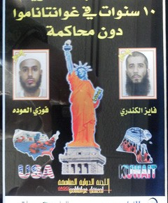 "This is the front cover of a pamphlet produced by a Kuwaiti-based anti-Guantanamo organization to try and win the release of two Kuwaiti prisoners, pictured on the cover of the pamphlet, who are detained at the detention facility. The commander of Guantanamo, Rear Adm. David Woods, accused one of the detainee's attorneys of ""smuggling"" the pamphlet into Guantanamo three weeks before he issued a widely condemned order calling for a review of detainees' legal mail. (Image: Lt. Col. Barry Wingard)"
